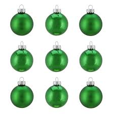 9ct shiny and matte emerald green glass ornaments 2