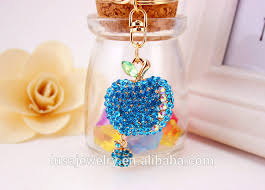 Personalized Charms Bulk Personalized Korean Style Apple Design Rhinestone Keychain Handbag