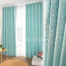 Country Curtains For Living Room Blue Botanical Jacquard Linen Cotton Blend Country Curtains For