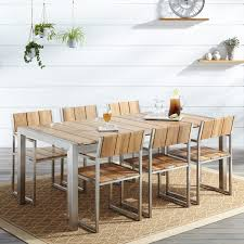 Outdoor Stainless Steel Furniture Macon 7 Piece Rectangular Teak Outdoor Dining Table Set Natural