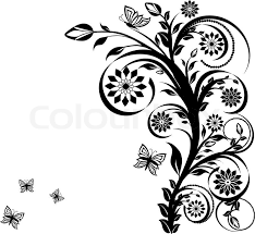 vector illustration of a floral ornament with butterflies stock