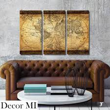 amazon com decor mi vintage world map canvas wall art prints