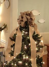 large christmas tree topper burlap bow natural burlap tree topper