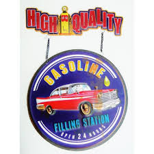 pompe essence vintage panneau 50cm plaque métal vintage gasoline ancienne station