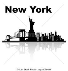 vectors of new york skyline black and white vector illustration