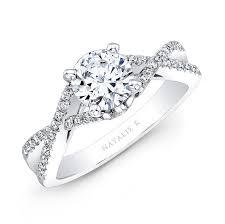 twisted shank engagement ring natalie k 14k white gold twisted split shank dia