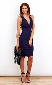 plunge dress navy blue plunge dress silkfred