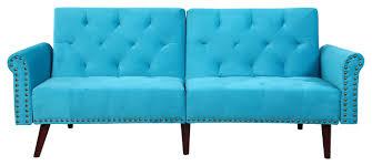 modern tufted velvet splitback sleeper futon sofa nailhead trim