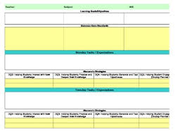 Weekly Lesson Plan Template Common by Common Marzano Interactive Lesson Plan Template Fourth Grade
