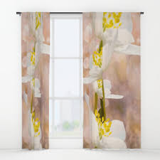 White Curtains With Yellow Flowers Kitty Window Curtains Society6