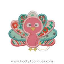 charming pastel baby turkey embroidered fabric iron on applique