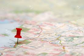 Push Pin Map A Push Pin Is Inserted On A Travel Destination Of A Map Stock