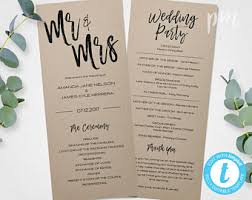 wedding bulletins templates wedding program template etsy