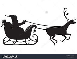 stock vector silhouette of santa claus riding a sleigh pulled by