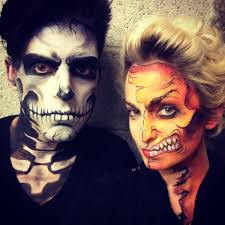 halloween face paint skeleton and half monster by katherine