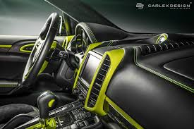 porsche 918 acid green porsche cayenne gets acid green interior makeover by carlex design
