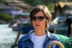 christine michael with short hair christine barra da lagoa portrait jeans jacket sun glasses
