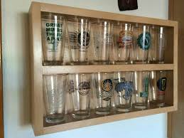 pint glass display cabinet pint glass display pint glass shelf handcrafted beer collection