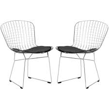 Dinette Chairs by Set Of 2 Bertoia Style Wire Dining Chair U2013 Poly Bark