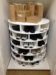 diy lazy susan shoe storage