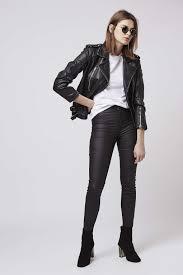 leather biker jacket topshop distressed leather biker jacket in black lyst