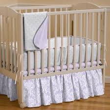 Mini Portable Crib Bedding Lilac And Silver Gray Damask Portable Crib Bedding Carousel Designs