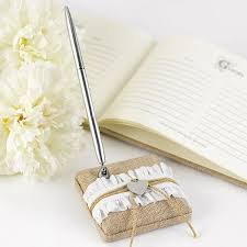 wedding guest book and pen set rustic burlap guest book pen set