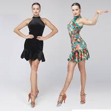 print black velvet latin dance dress to dance costumes salsa