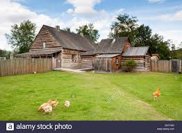 log cabins buildings houses compound backyard fort saint st james