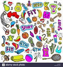 sports hand draw icon and elements fitness and sport colored icon