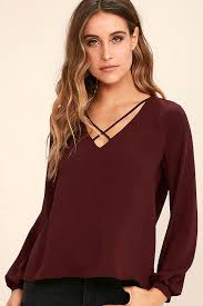 burgundy blouse chic burgundy top sleeve top blouse v neck top 34 00