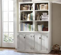 Wide Bookcase With Doors Logan Bookcase With Doors Pottery Barn