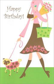 woman walking dog birthday card by freedom greetings
