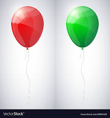Red and green shiny glossy balloons Royalty Free Vector