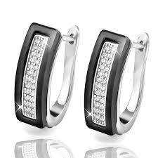 black zircon rings images Bling cubic zircon ring and earring set black white stainless jpg