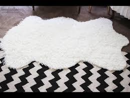 faux fur rug large faux sheepskin rug ikea youtube