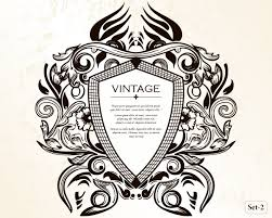 vintage heraldic shield with floral ornament vector set 2 vector