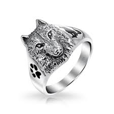 wolf wedding rings sterling wolf black animal paw print howling silhouette ring