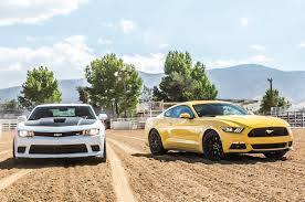 car and driver mustang vs camaro 2015 ford mustang gt vs chevrolet camaro ss on 2