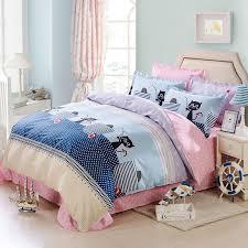 cotton linens cute cats duvet cover set queen double size bedding