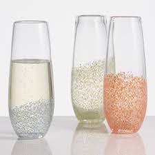 stemless champagne flutes confetti stemless champagne flutes world market
