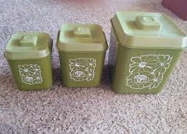 vintage plastic retro avocado green white flower kitchen canister