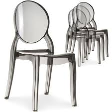 chaises medaillon 41 sur lot de 4 chaises médaillon plexi transparent fumé