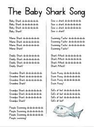 printable lyrics the baby shark song baby shark songs and teacher boards