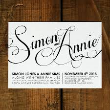 Wedding Invitations Cards Uk Modern Script Wedding Invitation Set On Luxury Card Modern