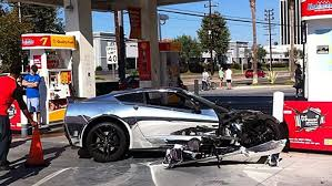 corvette car crash chrome c7 corvette stingray crashes into a gas station