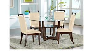 Cindy Crawford Dining Room Furniture Ciara Espresso 5 Pc Dining Set With Cream Chairs Round