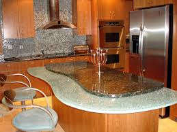 soft orange wood kitchen island designs feat granite countertop