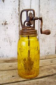 antique style 1858 amber glass mason fruit jar butter churn vtg