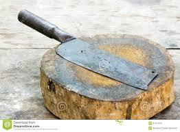 old knife on chopping block stock photo image 41572226